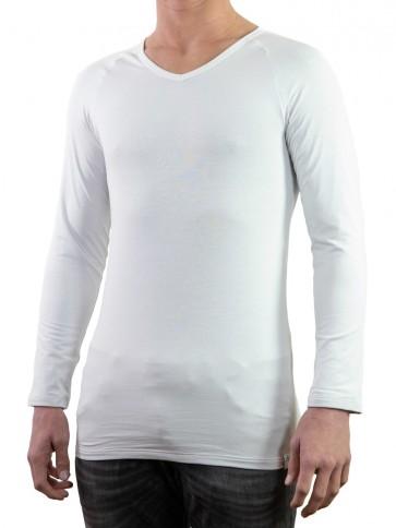 Long Sleeve Shirt-Silver V-neck
